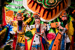 September 05, 2017 - Paper dolls are seen during the month of the Hungry Ghost Festival. The Hungry Ghost Festival, Yu Lan, is an ancient Chinese festival, it is believed that the spirits are allowed to return to the Human World and stay for a month. Some of the main activities of the festival include paying respects to the hungry ghosts and opera for the spirits. It is recognised as part of China's Intangible Cultural Heritage.