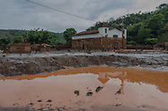 A open view of what remais of the surroundings of a church affected by a flood of mud in Paracatu de Baixo, one of the districts of Mariana, a brazilian city in the state of Minas Gerais. On november 5th, a mining waste dam failed causing a flood of mud.