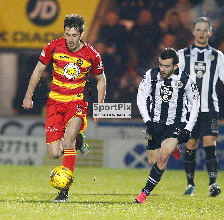 St.Mirren v Partick Thistle, Scottish Cup 4th round......Callum Booth and Paul McMullan battle for the ball...(c) STEPHEN LAWSON | SportPix.org.uk