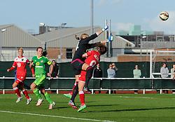Sunderland AFC Ladies' Hilde Olsen and Bristol Academy's Christie Murray collide - Mandatory by-line: Paul Knight/JMP - 25/07/2015 - SPORT - FOOTBALL - Bristol, England - Stoke Gifford Stadium - Bristol Academy Women v Sunderland AFC Ladies - FA Women's Super League