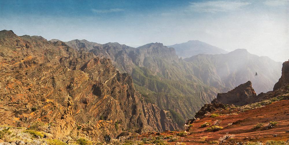 Panoramaansicht der Caldera de Taburiente, La Palma, Kanarische Inseln, Spanien