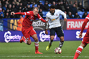 Bolton Wanderers Forward, Keshi Anderson (11) an Grimsby Town Midfielder,  Luke Summerfield (19)  during the The FA Cup match between Bolton Wanderers and Grimsby Town FC at the Macron Stadium, Bolton, England on 5 November 2016. Photo by Mark Pollitt.