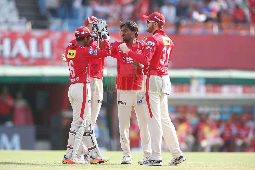 Wriddhiman Saha of Kings XI Punjab and Sandeep Sharma of Kings XI Punjab celebrate getting Sam Billings of the Delhi Daredevils wicket during match 36 of the Vivo 2017 Indian Premier League between the Kings XI Punjab and the Delhi Daredevils held at the Punjab Cricket Association IS Bindra Stadium in Mohali, India on the 30th April 2017<br /> <br /> Photo by Shaun Roy - Sportzpics - IPL