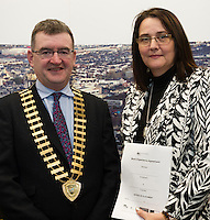 At the launch of the 'Work Experience agreement' between the Galway Chamber of Commerce (GCC) and Galway City Partnership, (GCP) were Conor O'Dowd, President Galway Chamber, Helen Kelly Dohas don Oige Training Centre  .Photo:Andrew Downes, xposure
