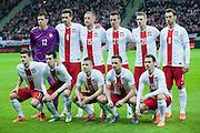 (UP) Goalkeeper Wojciech Szczesny , Lukasz Szukala , Kamil Glik , Arkadiusz Milik , Lukasz Piszczek , Grzegorz Krychowiak (DOWN) Mateusz Klich , Waldemar Sobota , Tomasz Brzyski , Slawomir Peszko , Ludovic Obraniak pose to team photo before international friendly soccer match between Poland and Scotland at National Stadium in Warsaw on March 5, 2014.<br /> <br /> Poland, Warsaw, March 5, 2014<br /> <br /> Picture also available in RAW (NEF) or TIFF format on special request.<br /> <br /> For editorial use only. Any commercial or promotional use requires permission.<br /> <br /> Mandatory credit:<br /> Photo by &copy; Adam Nurkiewicz / Mediasport
