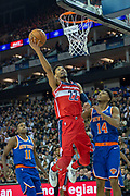 Washington Wizards Otto Porter (22) and New York Knicks Allonzo Trier (14) during the NBA London Game match between Washington Wizards and New York Knicks at the O2 Arena, London, United Kingdom on 17 January 2019.