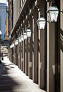 lamps on exterior of Whitney Bank parking building; 600 block of Gravier Street