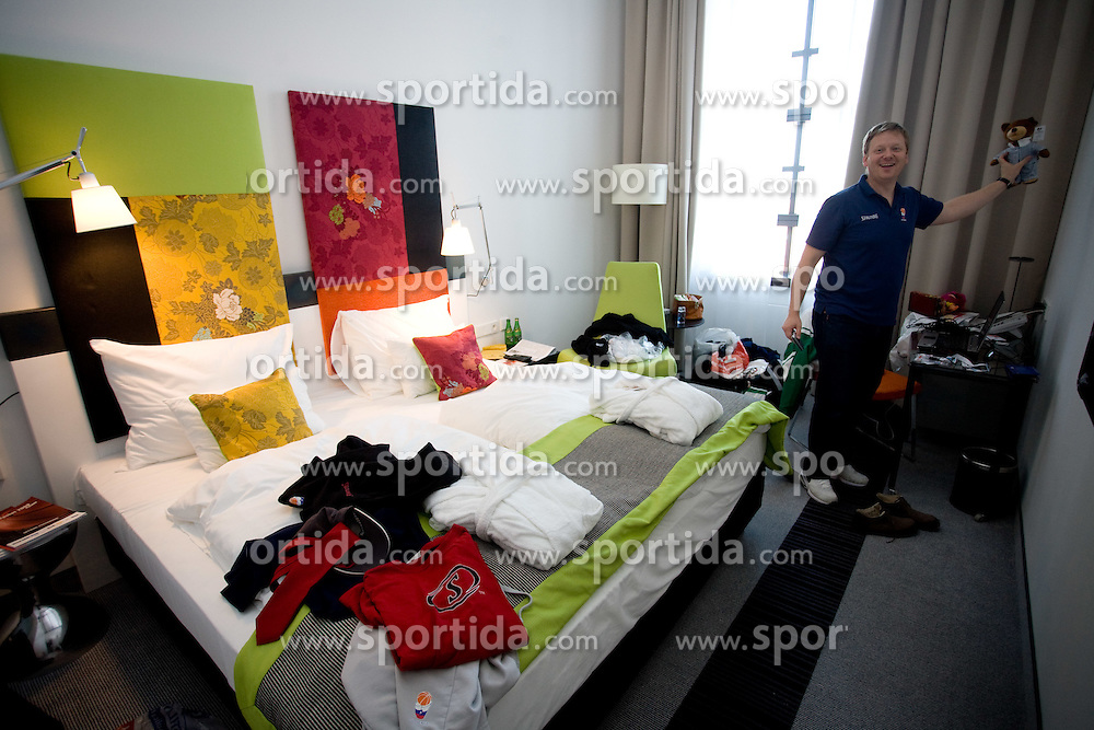 Luka Sefic of KZS in his  room of Slovenian team in a Andel's Hotel during Eurobasket 2009, on September 15, 2009 in  Lodz, Poland.  (Photo by Vid Ponikvar / Sportida)