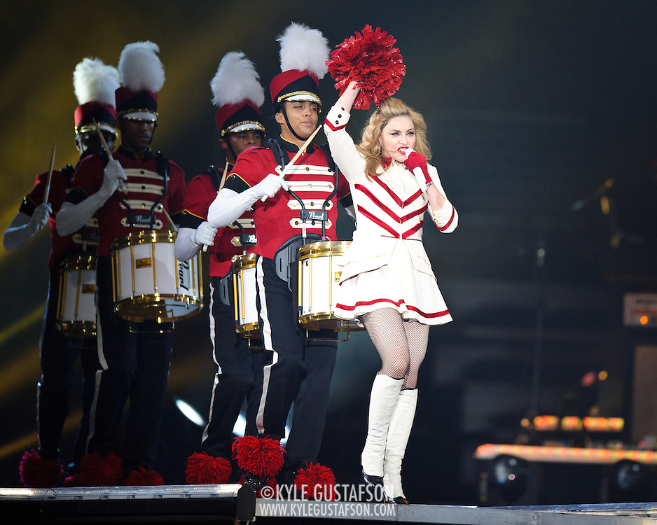 WASHINGTON, DC - September 23rd, 2012 - Music icon Madonna performs at the Verizon Center as part of the MDNA Tour. The tour, which began in May in Tel Aviv, Israel, has come under fire for it's violent imagery, fake gunplay and use of swastikas in an image collage. (Photo by Kyle Gustafson/For The Washington Post)