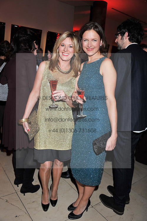 Left to right, ANDREA CATHERWOOD and KATIE DERHAM at the Costa Book Awards 2012 held at Quaglino's, 16 Bury Street, London SW1 on 29th January 2013.