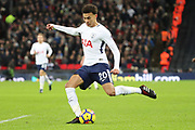 Dele Alli of Tottenham Hotspur (20) shoots at goal during the Premier League match between Tottenham Hotspur and Brighton and Hove Albion at Wembley Stadium, London, England on 13 December 2017. Photo by Matthew Redman.