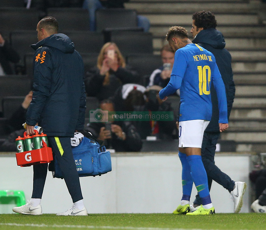 Brazil's Neymar goes off injured