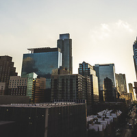 Austin Texas downtown panoramic photo at dusk. Austin, TX is a major city in the Southwestern United States of America. Panoramic picture ratio is 1:3 and was taken in 2016.