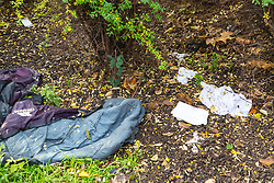Human excrement and a soaked, discarded sleeping bag in the bushes surrounding the Marble Arch fountains. Homeless Britons are coming under increasing pressure as a surge of Roma beggars from Romania arrive on the streets of London to take advantage of the generosity of Christmas shoppers. London, December 04 2018.