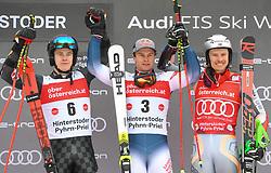 26.10.2019, Hannes Trinkl Weltcupstrecke, Hinterstoder, AUT, FIS Weltcup Ski Alpin, Riesenslalom, Herren, Siegerehrung, im Bild Filip Zubcic (CRO) Alexis Pinturault (FRA) Henrik Kristoffersen (NOR) // Filip Zubcic (CRO) Alexis Pinturault (FRA) Henrik Kristoffersen (NOR) during the winner ceremony for the men's Giant Slalom of FIS ski alpine world cup at the Hannes Trinkl Weltcupstrecke in Hinterstoder, Austria on 2019/10/26. EXPA Pictures © 2020, PhotoCredit: EXPA/ Erich Spiess