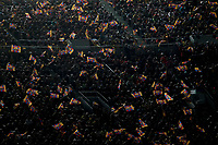 Barcelona´s supporters hold flags during 2014-15 Copa del Rey final match between Barcelona and Athletic de Bilbao at Camp Nou stadium in Barcelona, Spain. May 30, 2015. (ALTERPHOTOS/Victor Blanco)