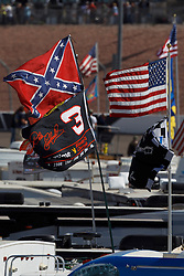 Mar 11, 2012; Las Vegas, NV, USA;  Detailed view of a confederate flag and Dale Earnhardt (not pictured) flag in the infield during the Kobalt Tools 400 at Las Vegas Motor Speedway. Mandatory Credit: Jason O. Watson-US PRESSWIRE