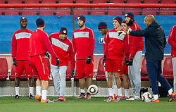 Tim Howard (R) and American players  during training session of USA National team before FIFA World Cup 2010 soccer match against Slovenia at  Ellis Park Stadium on June 17, 2010 in Johannesburg, South Africa.  (Photo by Vid Ponikvar / Sportida)
