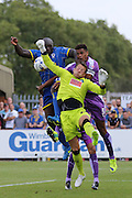 Bayo Akinfenwa of AFC Wimbledon during the Sky Bet League 2 match between AFC Wimbledon and Plymouth Argyle at the Cherry Red Records Stadium, Kingston, England on 8 August 2015. Photo by Stuart Butcher.