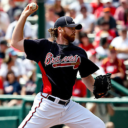 March 16, 2011; Lake Buena Vista, FL, USA; Atlanta Braves starting pitcher Tommy Hanson (48) during a spring training exhibition game against the Boston Red Sox at the Disney Wide World of Sports complex.  Mandatory Credit: Derick E. Hingle