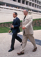 .Presidents Richard Nixon and Lyndon Baines Johnson walk on the grounds of the LBJ Library in Austin, Texas on the day of the opening May 24, 1971...Photgraph by Dennis Brack BS B13