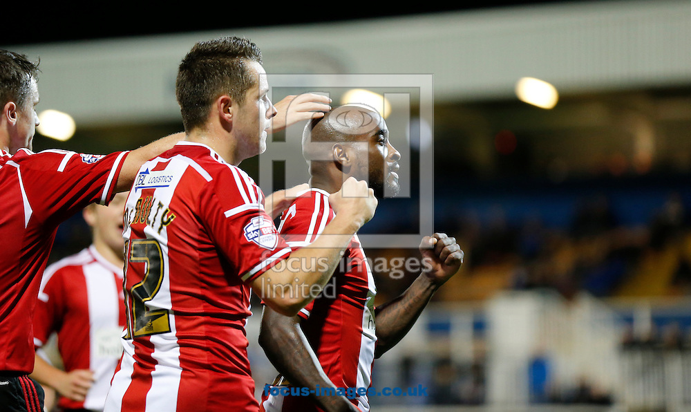 Jamal Campbell-Ryce (r) of Sheffield United celebrates scoring during the Johnstone's Paint Trophy match at Victoria Park, Hartlepool<br /> Picture by Simon Moore/Focus Images Ltd 07807 671782<br /> 07/10/2014