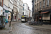 Tram in Old Town of  Antwerpen, Belgium