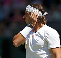 LONDON, ENGLAND - Tuesday, June 22, 2010: Rafael Nadal (ESP), wearing a Tourbillon watch RM 027, the lightest mechanical watch ever made (only weighing a mere 3.83 grams), during the Gentleman's Singles 1st Round match on day two of the Wimbledon Lawn Tennis Championships at the All England Lawn Tennis and Croquet Club. (Pic by David Rawcliffe/Propaganda)