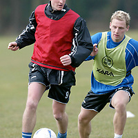 St Johnstone training..21.03.03<br />Chris hay pursued by Marc McCulloch during training this morning<br />see story by Gordon Bannerman tel: 01738 553978<br /><br />Picture by Graeme Hart<br />Perthshire Picture Agency<br />Tel: 01738 623350 / 07990 594431