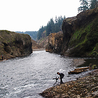 Videographer Travis Rummel prepares to film boaters passing through a section of the White Salmon River where the 125-foot Condit Dam once stood. Knight is using the footage for the documentary film DamNation.