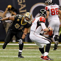 December 26, 2011; New Orleans, LA, USA; New Orleans Saints defensive end Will Smith (91) pressures Atlanta Falcons quarterback Matt Ryan (2) during a game at the Mercedes-Benz Superdome. The Saints defeated the Falcons 45-16.  Mandatory Credit: Derick E. Hingle-US PRESSWIRE