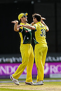 Mitchell Marsh of Australia (left) congratulates Pat Cummins of Australia (right) on taking the wicket of Alex Hales of England (not shown) during the 3rd One Day International match at Old Trafford Cricket Ground, Stretford<br /> Picture by Andy Kearns/Focus Images Ltd 0781 864 4264<br /> 08/09/2015