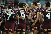 May 25th 2011: Sam Thaiday of the Maroons celebrates with team mates after game 1 of the 2011 State of Origin series at Suncorp Stadium in Brisbane, Australia on May 25, 2011. Photo by Matt Roberts/mattrIMAGES.com.au / QRL