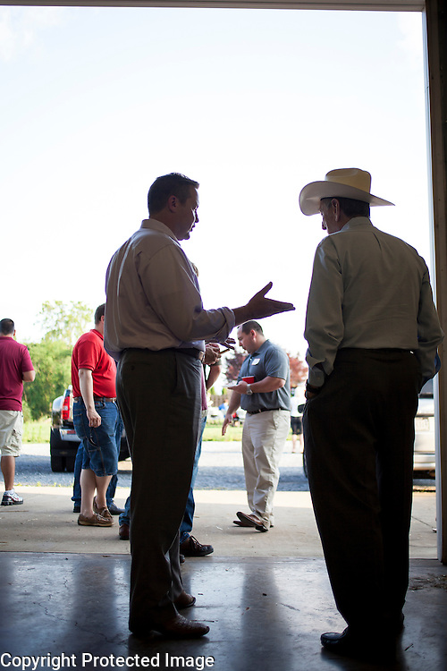 Prince William County Supervisor, Corey Stewart speaks with Vance Wilkins, during an appearance at the Page County , VA GOP Jamboree, in Luray, VA on Saturday, June 25, 2016.  Wilkins was a Republican delegate from 1978-2002 and served as the 53rd Speaker of the Virginia House of Delegates in 2000.  Stewart recently ran the Trump operation in Virginia and is running for Governor in 2017.  Stewart mingled with guests and made a brief speech, along with other candidates for political office in Virginia.  John Boal Photography