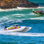 88 and Hogs Breath, push teh limits in rough conditions, Outboard Engine Class, Offshore Superboat Championships, Coffs Harbour, New South Wales, Australia