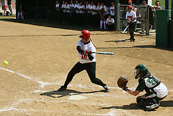 05 April 2008: Jacquelyn Tassone awaits the arrival of the pitch as does catcher Kelly Nelson. The Carthage College Lady Reds lost the first game of this double header to the Titans of Illinois Wesleyan 4-1 at Illinois Wesleyan in Bloomington, IL