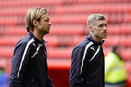 Kaspars Gorkss of Reading (L) and Pavel Pogrebnyak of Reading before the Sky Bet Championship match at The Valley, London<br /> Picture by Andrew Tobin/Focus Images Ltd +44 7710 761829<br /> 05/04/2014