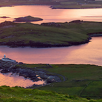Meditative panoramic irish Sunrise Landscape with view on Valentia Lighthouse, County Kerry, Republic of Ireland / vl095