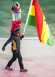 PYEONGCHANG-GUN, SOUTH KOREA - FEBRUARY 09: Vlaggendrager Akwasi Frimpong GHA at Opening Ceremony of the PyeongChang 2018 Winter Olympic Games at PyeongChang Olympic Stadium on February 9, 2018 in Pyeongchang-gun, South Korea. Photo by Ronald Hoogendoorn / Sportida