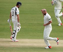 Durham's Chris Rushworth celebrates the wicket of Middlesex's Nick Compton - Photo mandatory by-line: Robbie Stephenson/JMP - Mobile: 07966 386802 - 04/05/2015 - SPORT - Football - London - Lords  - Middlesex CCC v Durham CCC - County Championship Division One