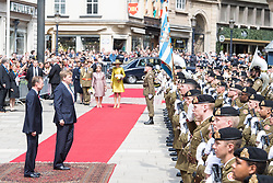 King Willem-Alexander of the Netherlands, Queen Maxima of the Netherlands, Grand Duke Henri of Luxembourg and Grand Duchess Maria Teresa of Luxembourg on the first of the 3 day state visit of the Dutch Royals to Luxembourg. 23 May 2018 Pictured: King Willem-Alexander of the Netherlands, Queen Maxima of the Netherlands, Grand Duke Henri of Luxembourg and Grand Duchess Maria Teresa of Luxembourg on the first of the 3 day state visit of the Dutch Royals to Luxembourg. Photo credit: MEGA TheMegaAgency.com +1 888 505 6342