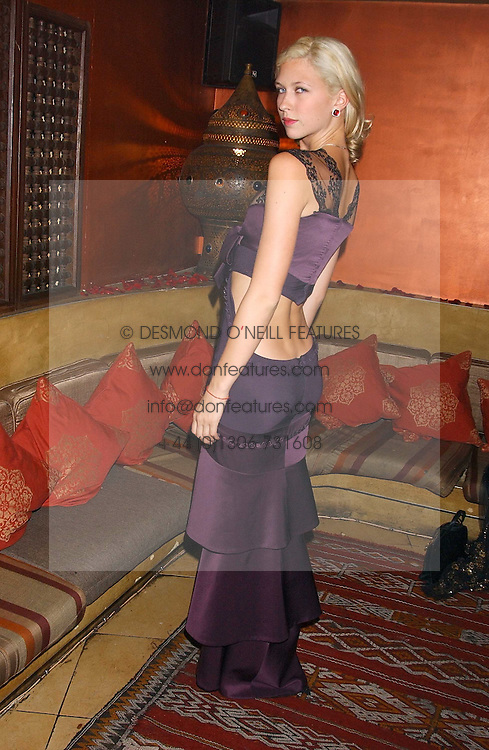 Actress MARGO STILLEY at a dinner hosted by Ayesha Makim and leading stylist Mohieb Dahabieh to celebrate the forthcoming London Fashion Week held at the exotic restaurant Levant, 76 Wigmore Street, London W1 on 8th September 2005.<br />
