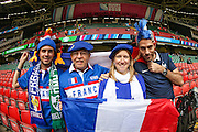French fans before the Rugby World Cup Pool D match between France and Ireland at Millenium Stadium, Cardiff, Wales on 11 October 2015. Photo by Shane Healey.