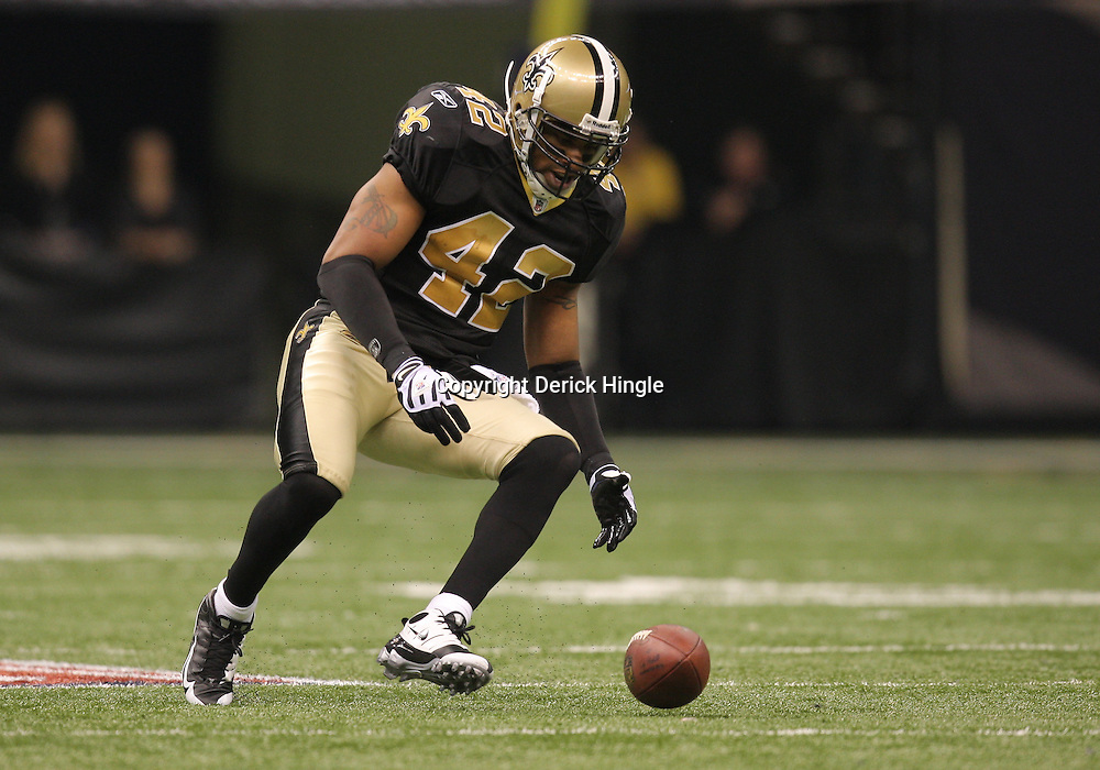 16 January 2010: New Orleans Saints safety Darren Sharper (42) in action during a 45-14 win by the New Orleans Saints over the Arizona Cardinals in a 2010 NFC Divisional Playoff game at the Louisiana Superdome in New Orleans, Louisiana.