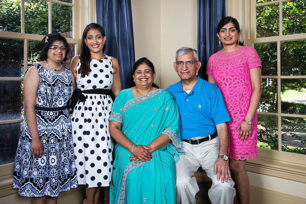 Houston, Texas: Hema Ramaswamy with sister Uma Shankar, parents Gayathri and Ramesh Ramaswamy, and sister Geetha Radhakrishnan, May 24, 2014. Hema and her parents live in Middletown, New Jersey. Uma and Geetha live in Houston with their families.