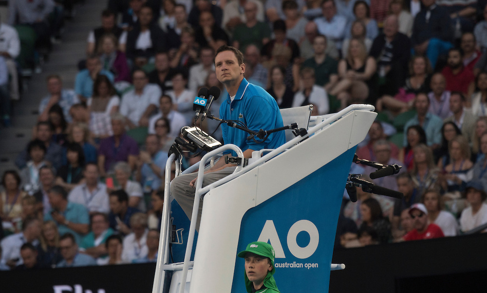 A chair umpire on day eleven of the 2017 Australian Open at Melbourne Park on January 26, 2017 in Melbourne, Australia.<br /> (Ben Solomon/Tennis Australia)