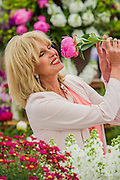 Joanna Lumley on the M&S Stand. RHS Chelsea Flower Show, Chelsea Hospital, London UK, 18 May 2015.