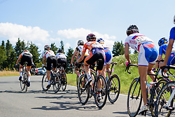The top of the climb comes into view at Thüringen Rundfarht 2016 - Stage 6 a 130 km road race starting and finishing in Schleiz, Germany on 20th July 2016.