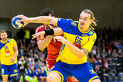 28.10.2018, Raiffeisen Sportpark, Graz, AUT, EHF, Euro Cup, Österreich vs Schweden, im Bild Lukas Nilsson (SWE)// during the EHF Euro Cup Match between Austria and Sweden at the Raiffeisen Sportpark, Graz, Austria on 2018/10/28. EXPA Pictures © 2018, PhotoCredit: EXPA/ Sebastian Pucher