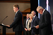 Carter Hackett speaks during the Auckland Rugby awards night held at Eden Park on the 25th of October 2017. <br /> Credit; Peter Meecham/ www.photosport.nz
